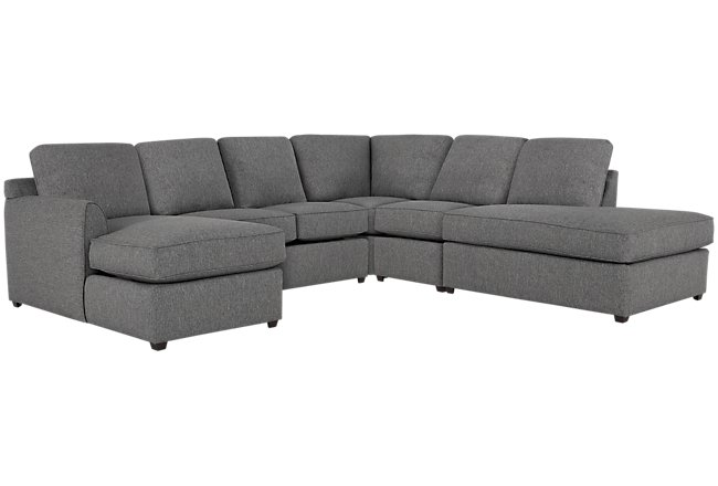 Asheville Gray Fabric Large Right Bumper Sectional