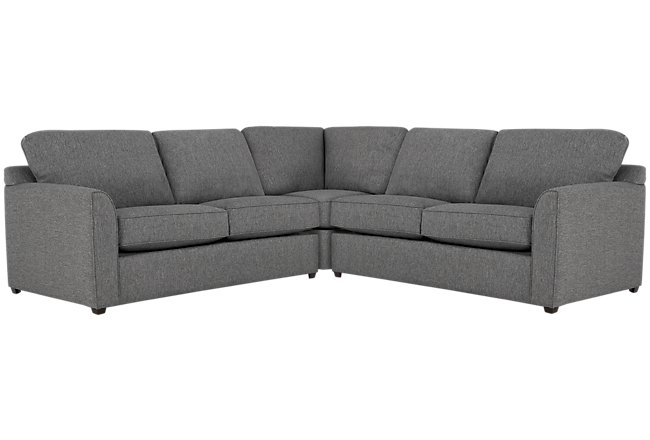 Asheville Gray Fabric Small Two-Arm Sectional