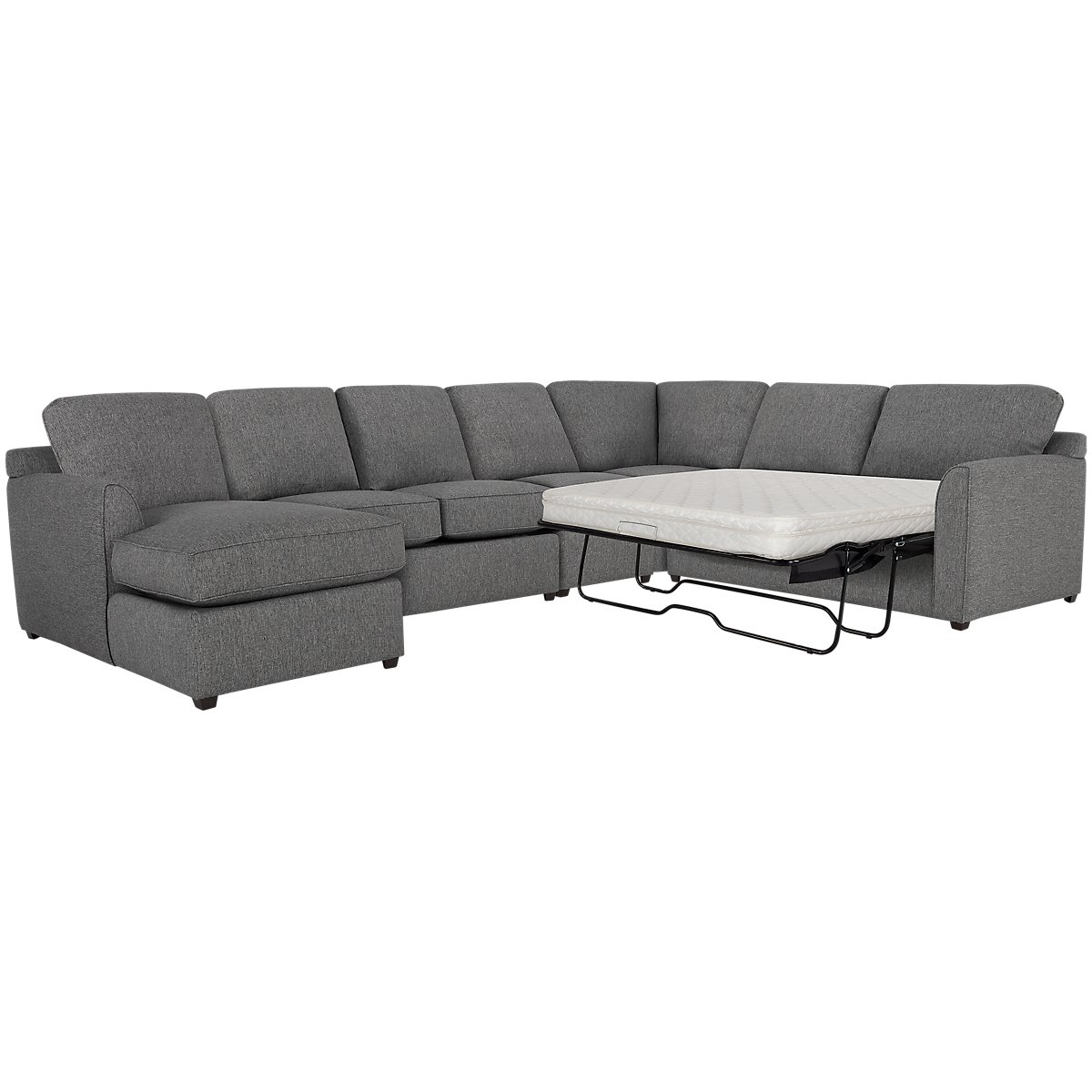 Asheville Gray Fabric Left Chaise Innerspring Sleeper Sectional