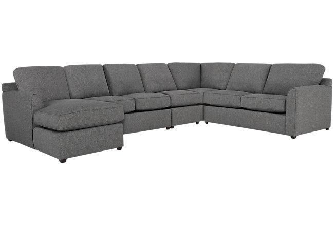 Asheville Gray Fabric Left Chaise Innerspring Sleeper Sectional