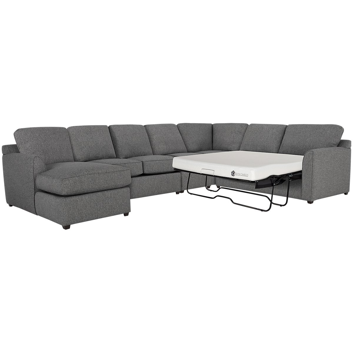 Asheville Gray Fabric Left Chaise Memory Foam Sleeper Sectional