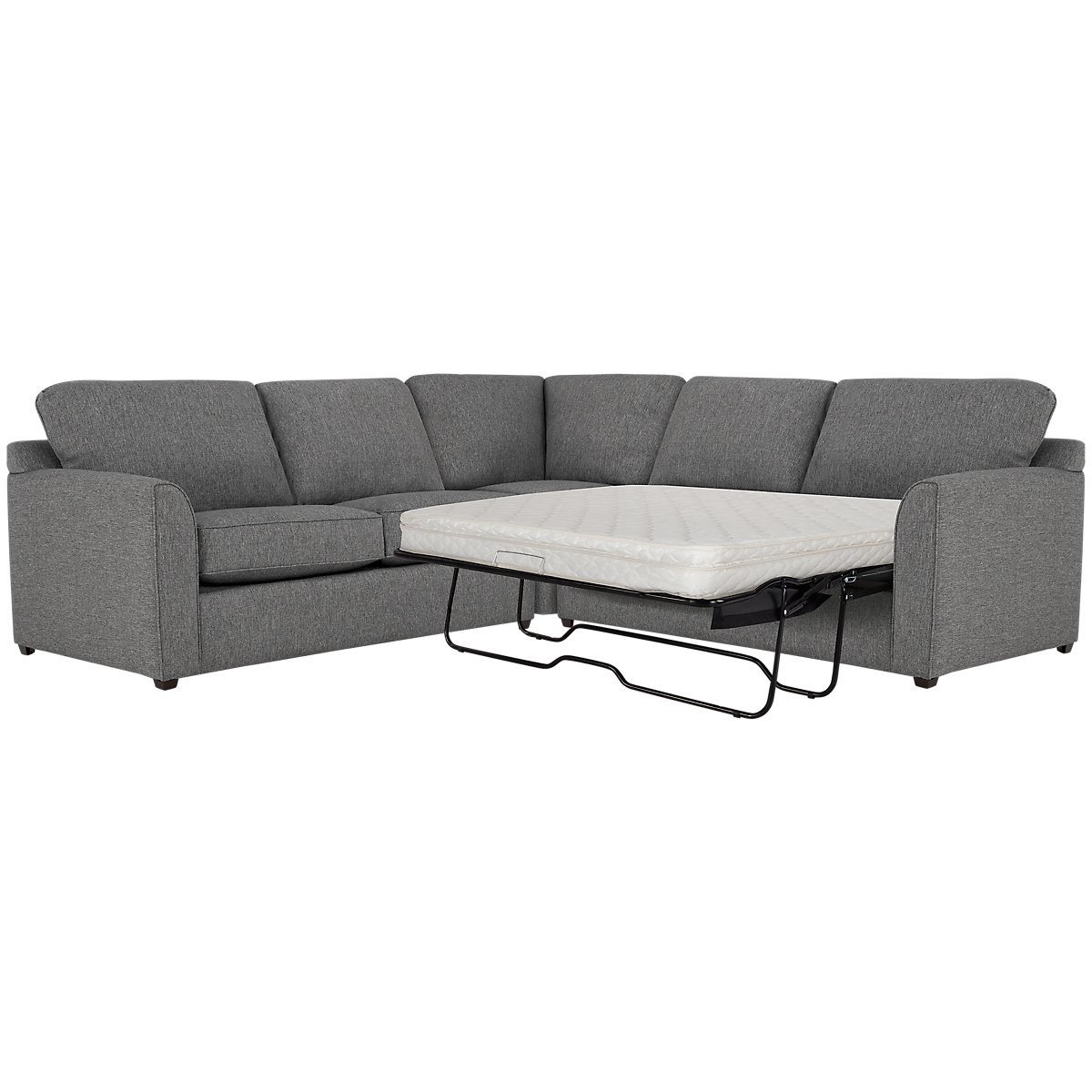 Asheville Gray Fabric Two-Arm Right Innerspring Sleeper Sectional