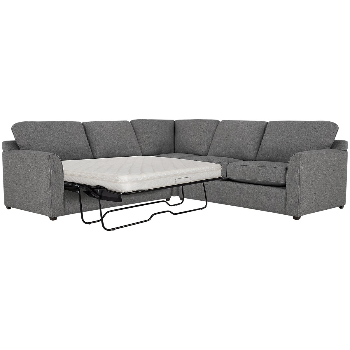 Asheville Gray Fabric Two-Arm Left Innerspring Sleeper Sectional
