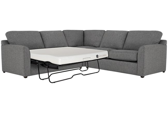 Asheville Gray Fabric Two Arm Left Memory Foam Sleeper Sectional