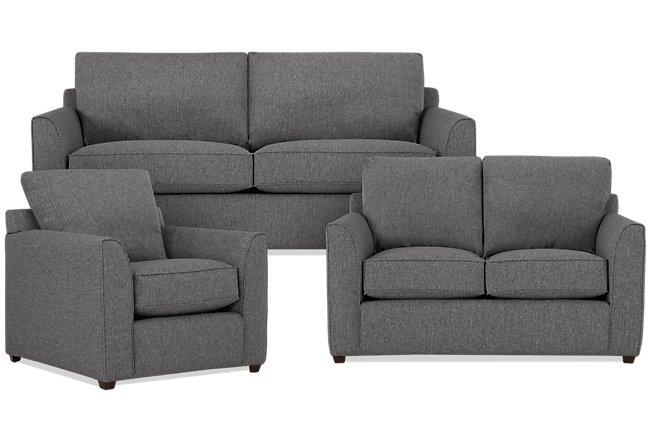 Asheville Gray Fabric Living Room