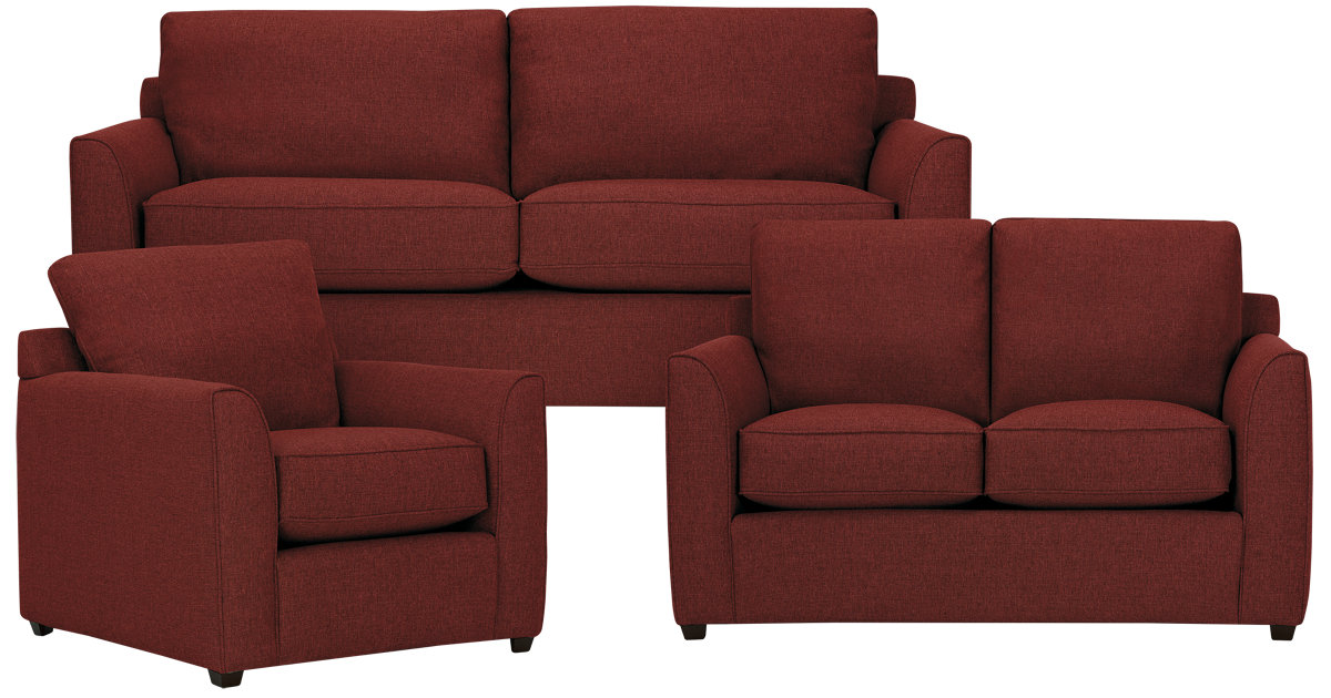 City Furniture Asheville Red Fabric Living Room