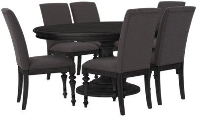 Corinne Dark Tone Round Table & 4 Chairs