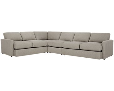 Noah Khaki Fabric Large Two-Arm Sectional
