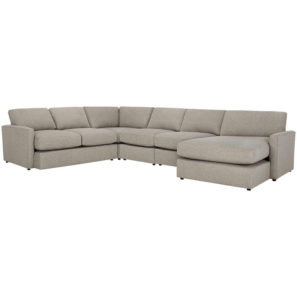Noah Khaki Fabric Large Right Chaise Sectional