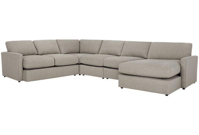 Noah Khaki Fabric Large Right Chaise Sectional
