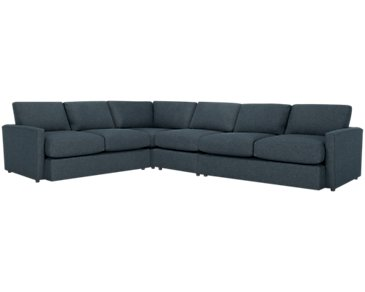 Noah Dark Blue Fabric Large Two-Arm Sectional