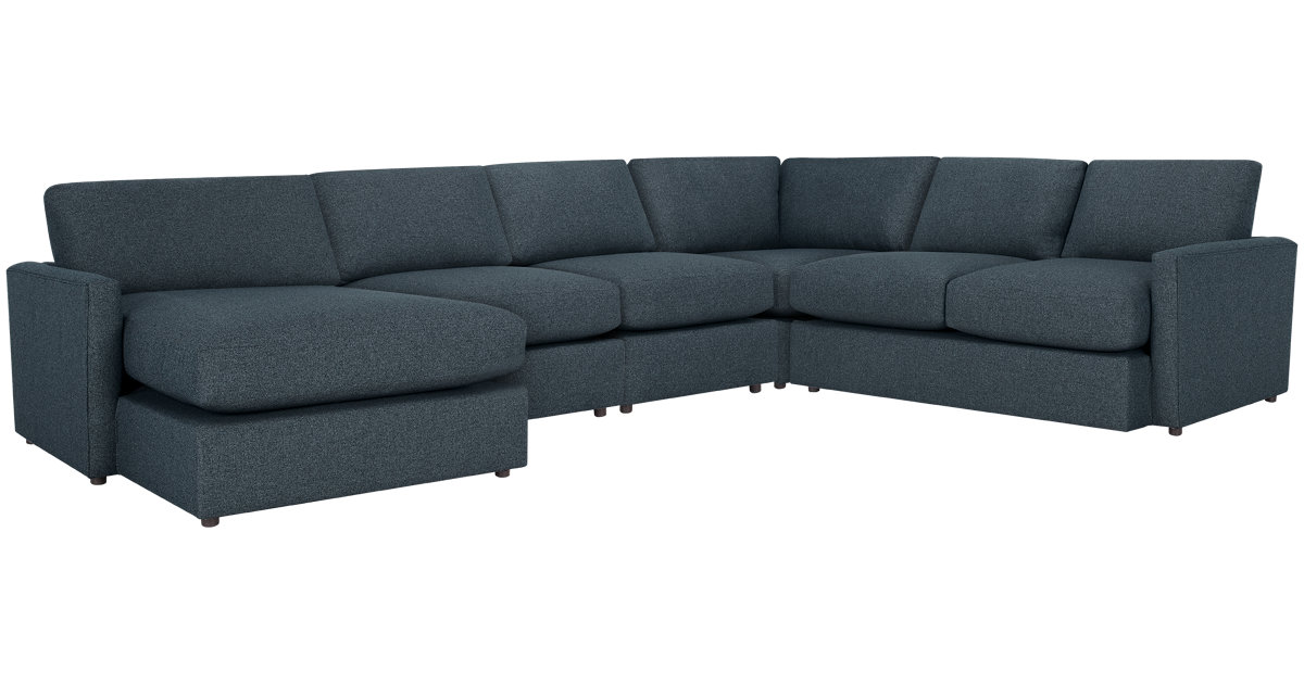 City Furniture Noah Dark Blue Fabric Large Left Chaise Sectional