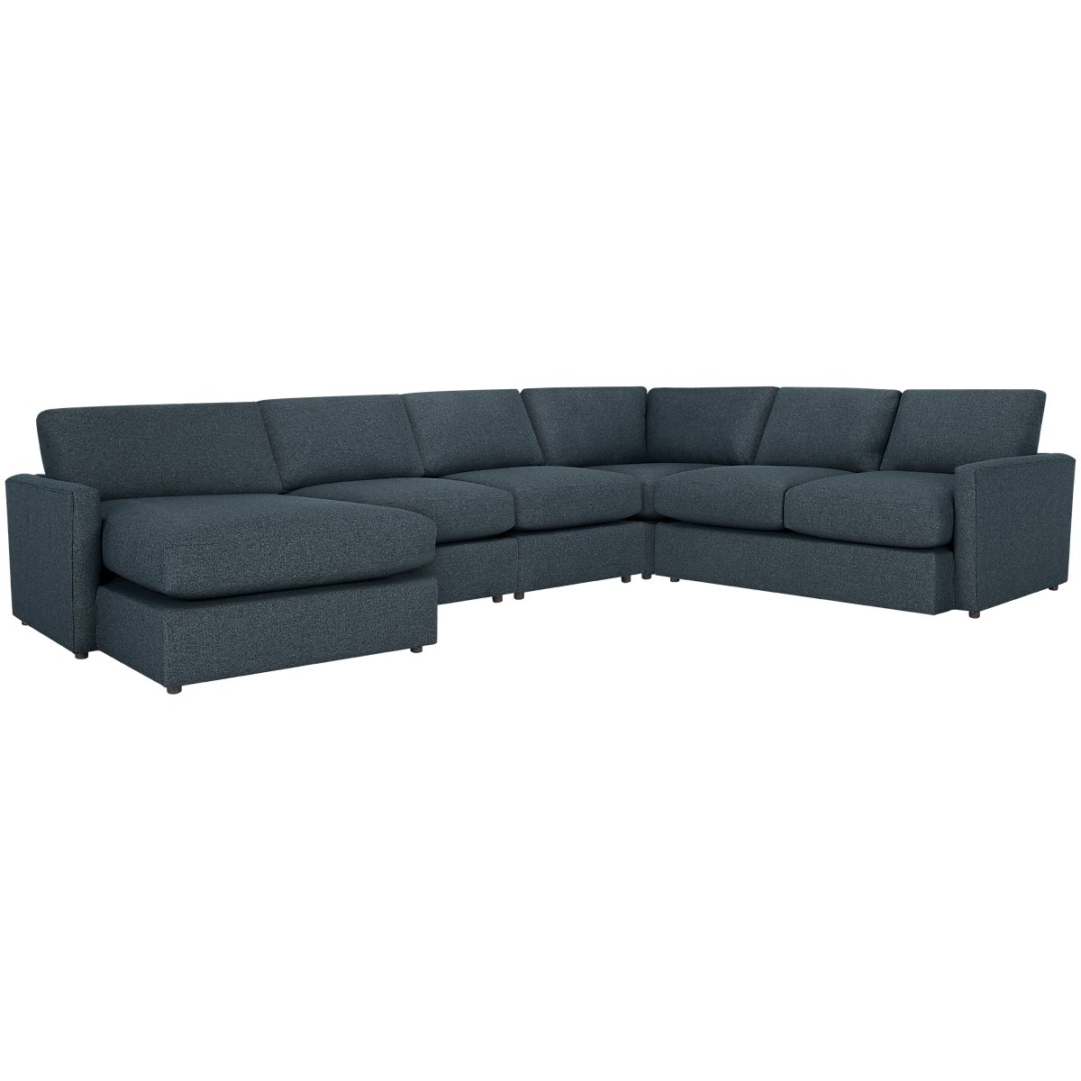 Noah Dark Blue Fabric Large Left Chaise Sectional