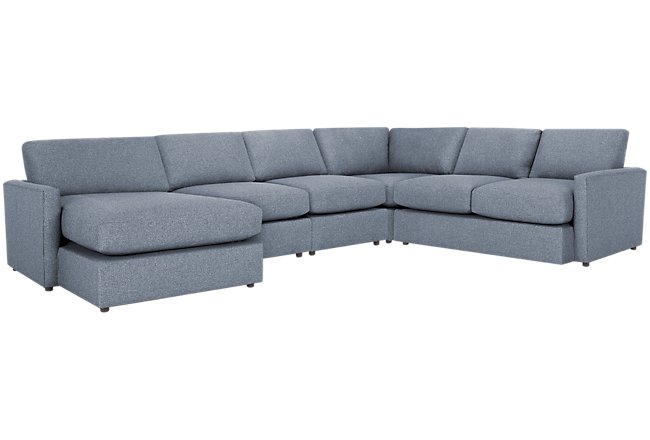 Noah Dark Gray Fabric Large Left Chaise Sectional