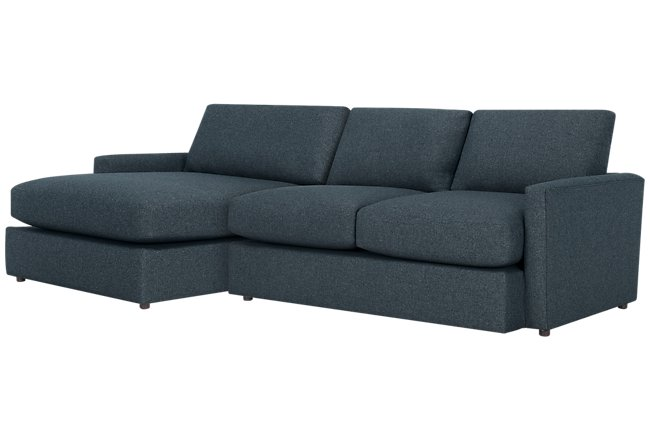Noah Dark Blue Fabric Small Left Chaise Sectional