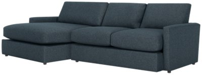 Image Of Noah Dark Blue Fabric Small Left Chaise Sectional With Sku:9710491