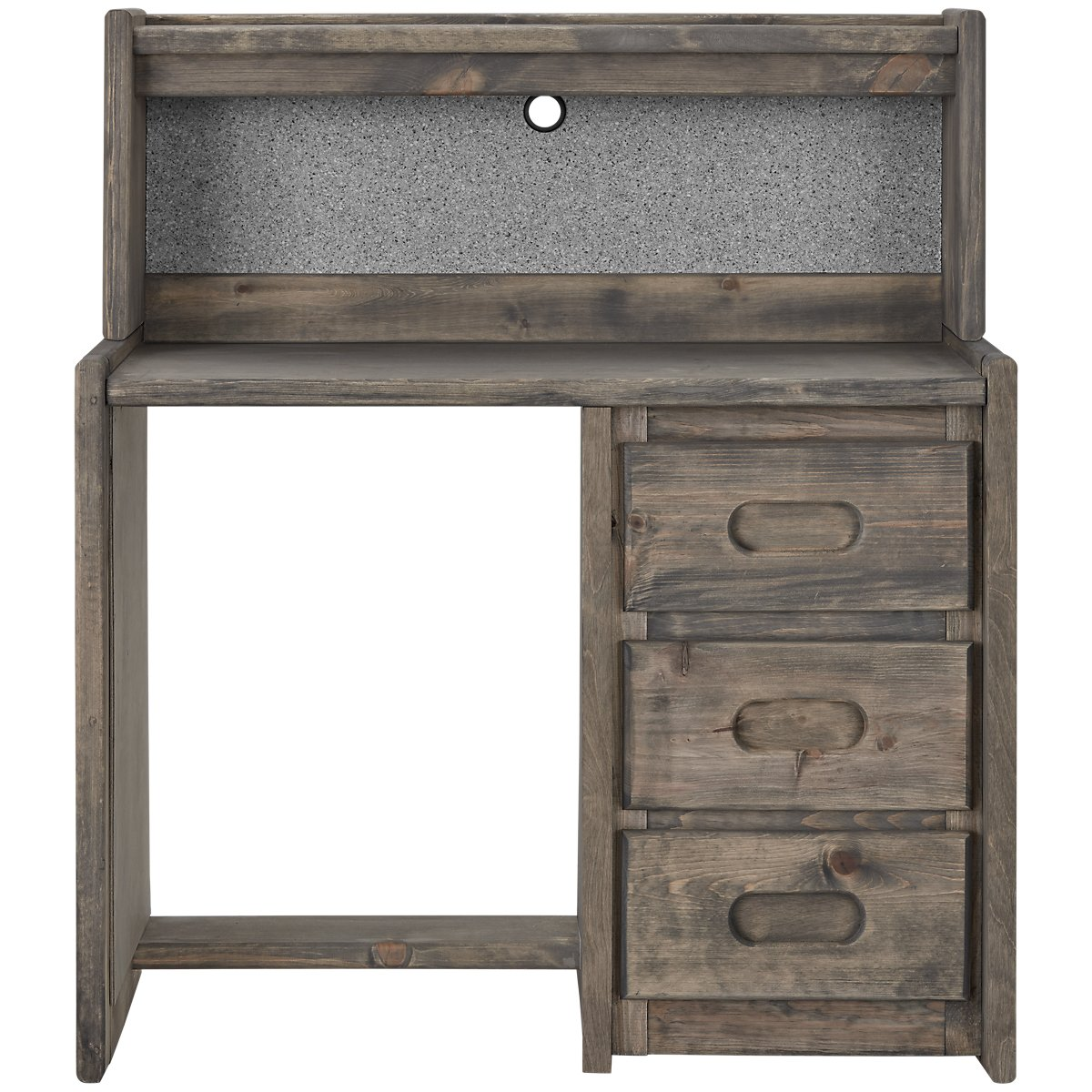 Cinnamon Gray Wood Desk And Hutch