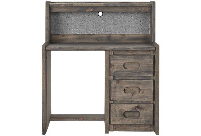 Cinnamon Gray Wood Desk And Hutch