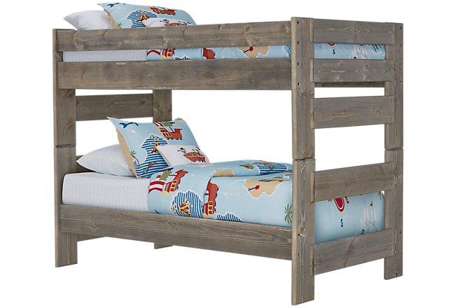 Cinnamon Gray Wood Bunk Bed
