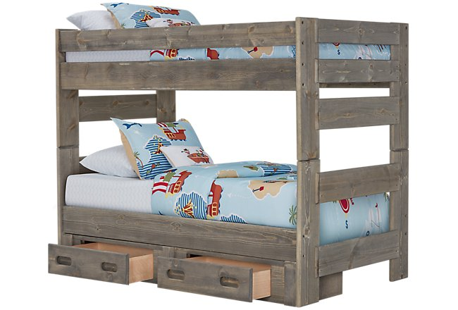 Cinnamon Gray Wood Storage Bunk Bed