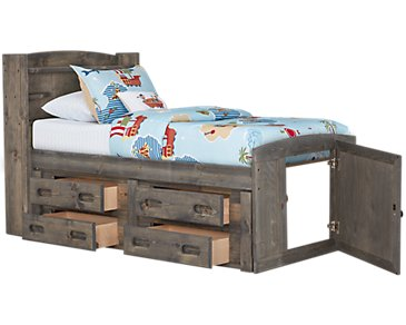 Cinnamon Gray Bookcase Storage Bed