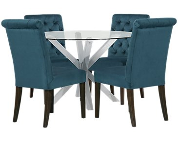 Heath Dark Blue Glass Table & 4 Upholstered Chairs