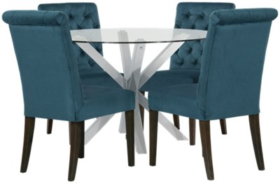 Heath Dark Blue Glass Table U0026 4 Upholstered Chairs