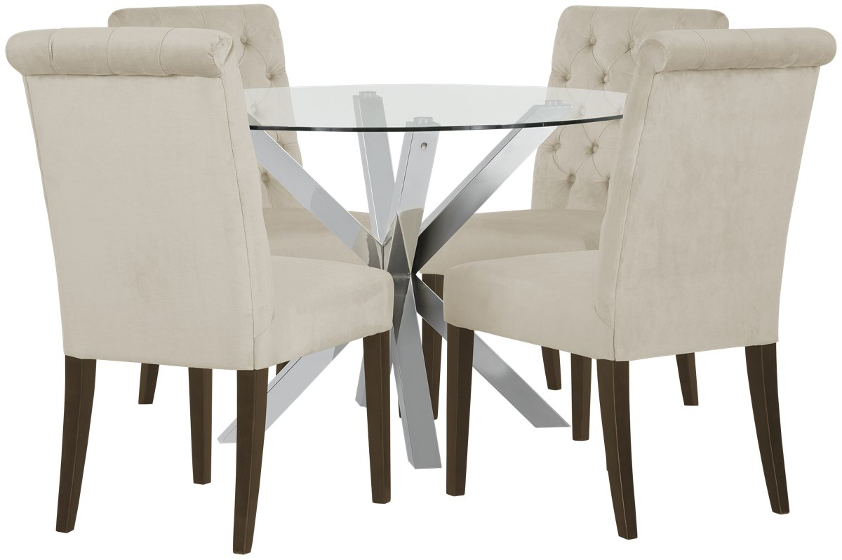 Heath Light Beige Glass Table & 4 Upholstered Chairs