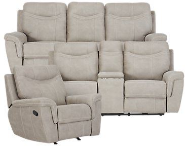 Boardwalk Pewter Microfiber Manually Reclining Living Room