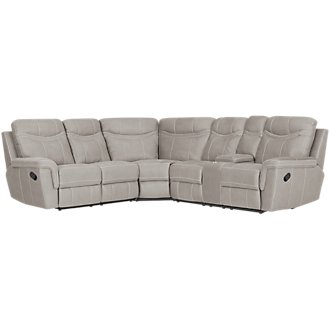Boardwalk Pewter Microfiber Small Two-Arm Manually Reclining Sectional