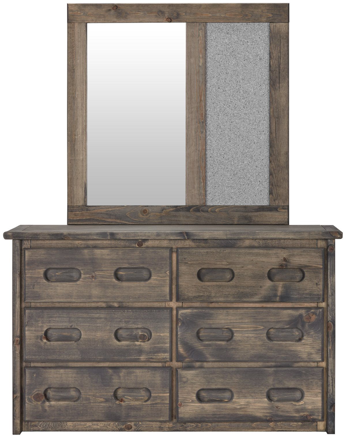 Cinnamon Gray Wood Dresser & Mirror