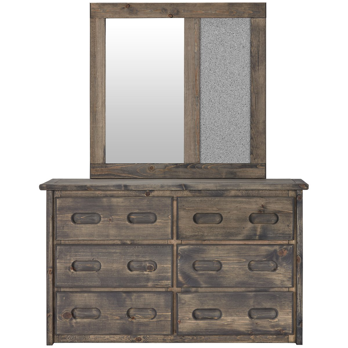 Cinnamon Gray Wood Large Dresser & Mirror