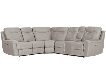 Boardwalk Pewter Microfiber Small Two-Arm Power Reclining Sectional