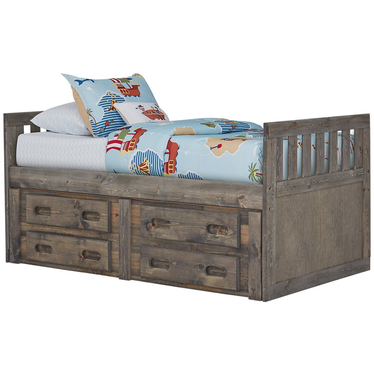 Cinnamon Gray Wood Panel Storage Bed