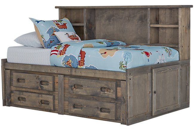 Cinnamon Gray Wood Storage Bookcase Daybed