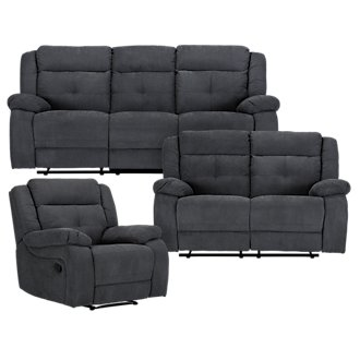 Pierce Dark Gray Microfiber Manually Reclining Living Room