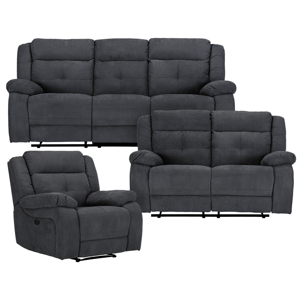 City Furniture Pierce Dark Gray Microfiber Power Reclining Loveseat