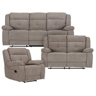 Pierce Taupe Microfiber Manually Reclining Living Room
