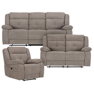 Pierce Taupe Microfiber Power Reclining Living Room