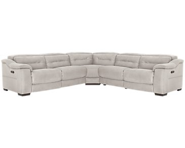 Kent Light Gray Microfiber Left Small Tri Power Reclining Two-Arm Sectional