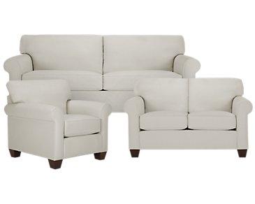Corlis Light Gray Fabric Living Room