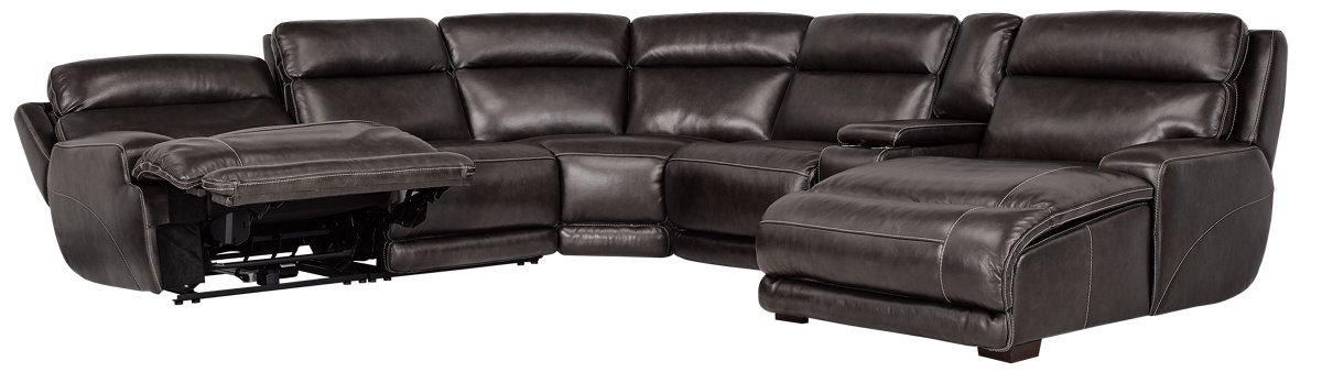 city furniture gable pewter leather right chaise power reclining sectional