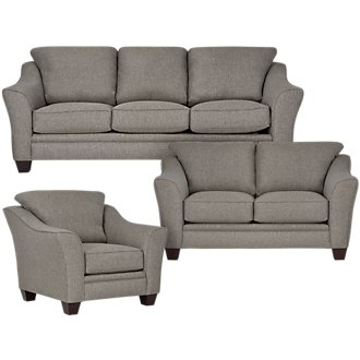 Avery Dark Gray Fabric Living Room