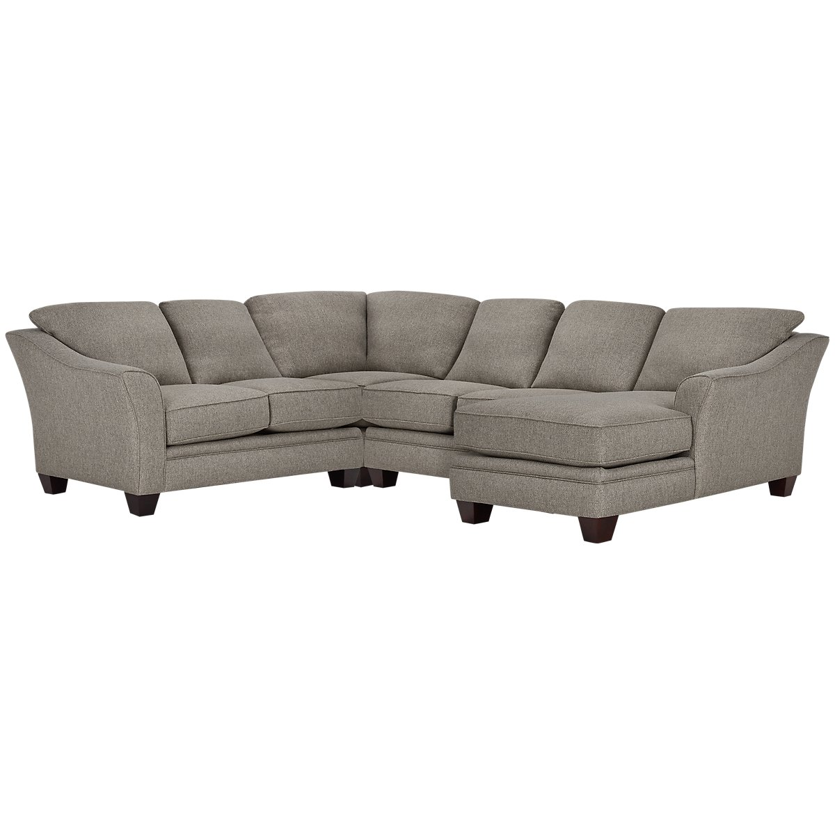 Avery Dark Gray Fabric Medium Right Chaise Sectional