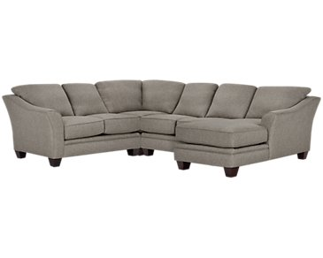 Avery Dark Gray Fabric Medium Right Chaise Sectional