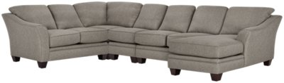 Avery Dark Gray Fabric Large Right Chaise Sectional