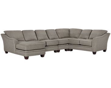 Avery Dark Gray Fabric Large Left Chaise Sectional