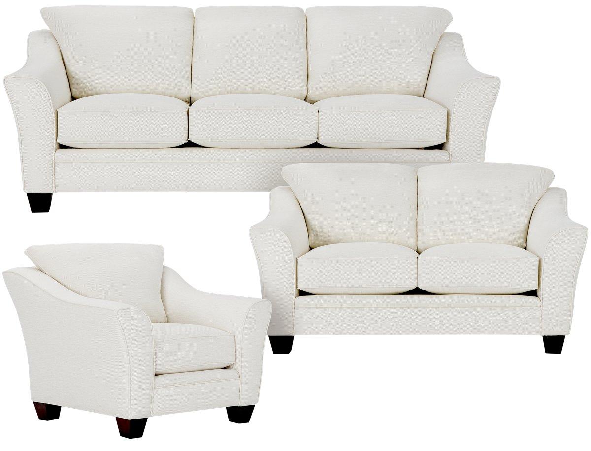 Avery White Fabric Living Room