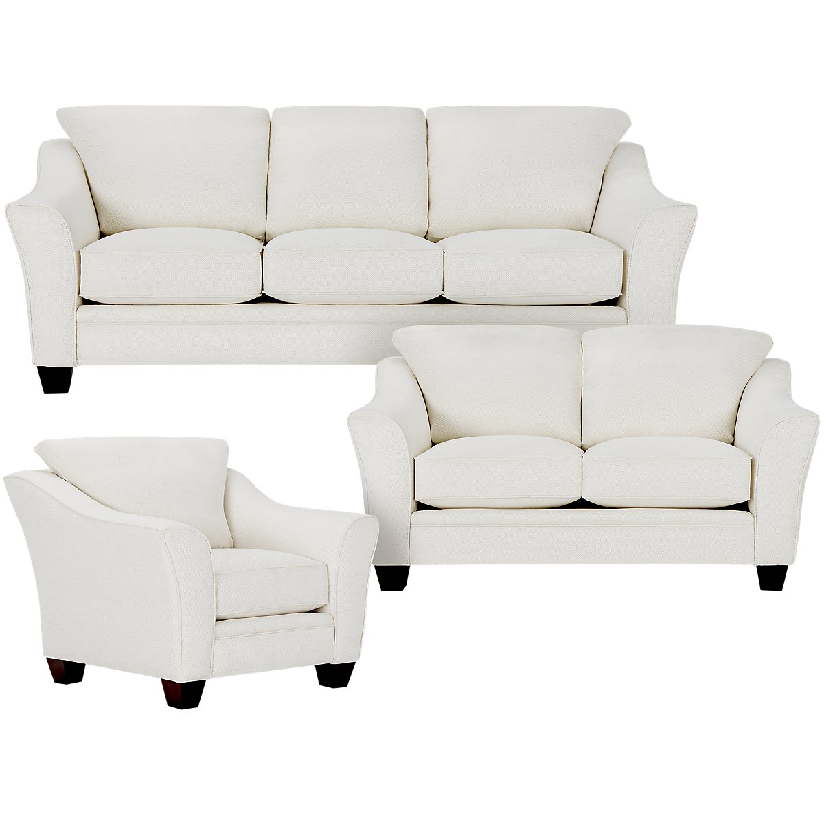 City furniture avery white fabric living room for Fabric living room chairs