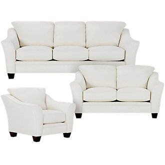 Avery White Fabric Living Room